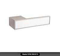 Дверная ручка Tupai 3084 RT H никель матовый, вставка белый мат