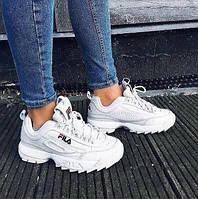 Женские кроссовки в стиле Fila Disruptor 2, белые, фото 1