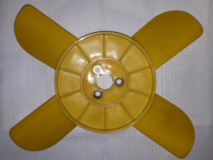 Крыльчатка охлаждения радиатора 4-х желтая ВАЗ 2101 2102 2103 2104 2105 2106 2107 Нива Тайга 2121 21213