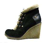 Стильные зимние женские кожаные ботинки на танкетке MARIPOSA с мехом ( цигейка )
