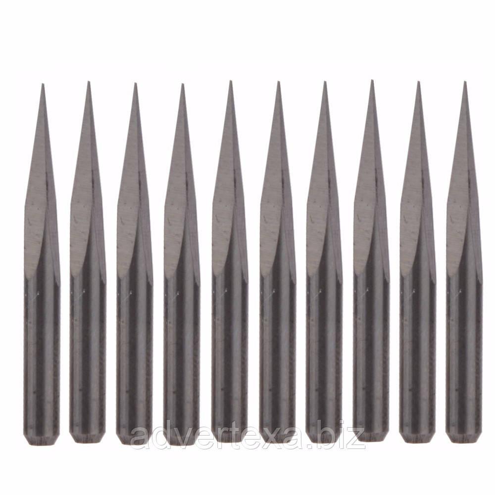 Набір фрез 0.1 мм 15 градусів, піраміда, 3.175 мм з вольфрамової сталі з загальною довжиною 31.5 мм для гравіювання
