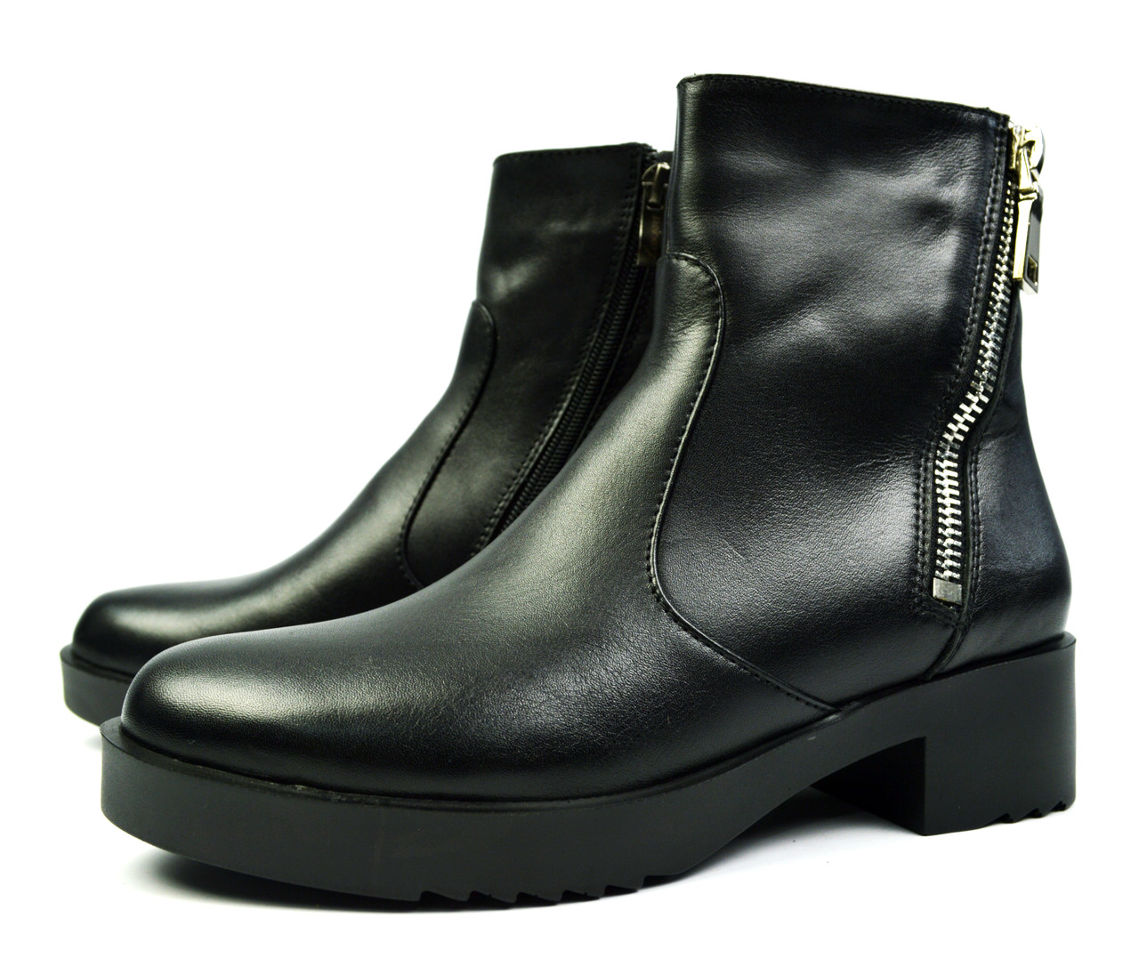 Черные зимние женские кожаные ботинки Luxart на меху ( овчина )