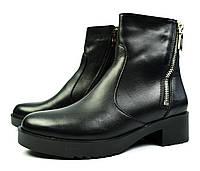 Черные зимние женские кожаные ботинки Luxart на меху ( овчина ), фото 1