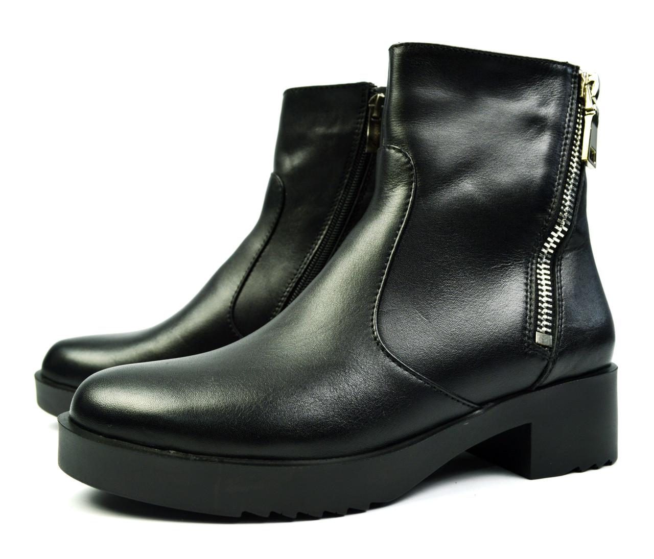 65ff82515c7f Черные зимние женские кожаные ботинки Luxart на меху ( овчина ...
