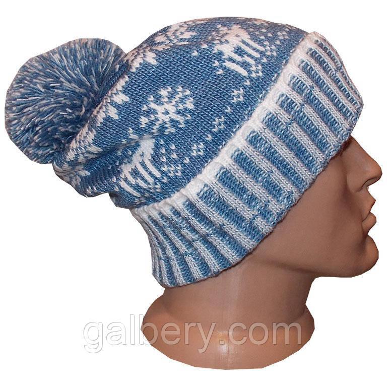 мужская вязаная шапка носок утепленный вариант зимняя сказка с