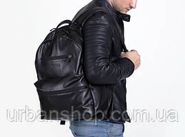 Рюкзак наплічник Harvest Tipoleather Gloss чорний Mono шкіра кожа замінник зерниста фактура.