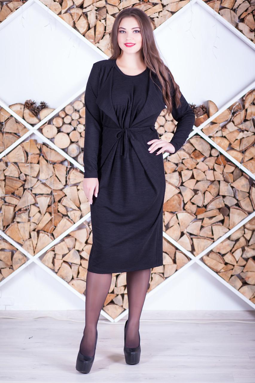 Стильное платье больших размеров из трикотажа