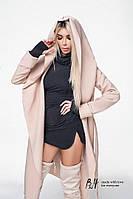 Пальто на запах длина106см  бежевый, черный, серый, бутылка, марсал