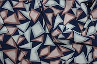 Ткань креп шифон-бабл, треугольнички розовый, фото 1