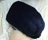 Женская  норковая шапка модель стюардесса украшение 2 полоски, фото 3