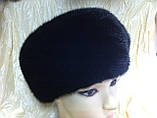Женская  норковая шапка модель стюардесса украшение 2 полоски, фото 5