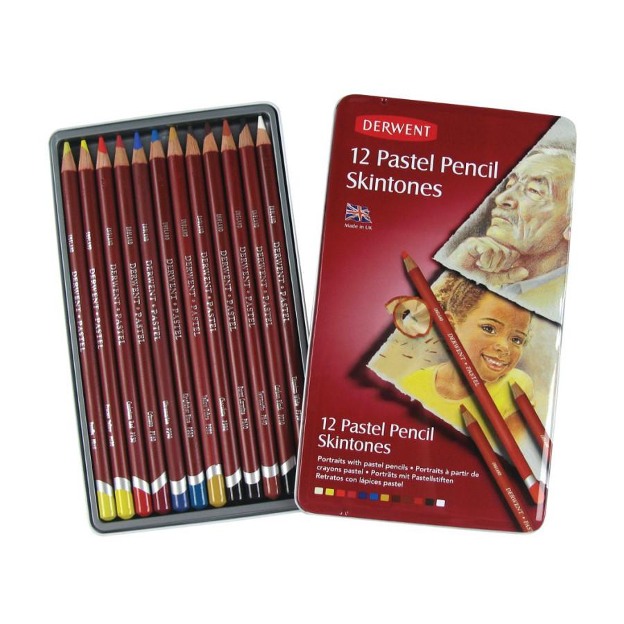 """Набор пастельных карандашей, """"Телесные оттенки"""" 12 цветов, металлический пенал, Derwent, 2300563"""