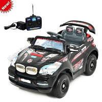 Детский Электромобиль Джип BMW x8 черный на надувных колесах на р/у, без колпаков, красные диски