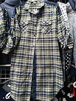 Стильная женская рубашка туника в клетку на байке