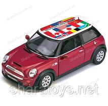 Машинка Kinsmart Mini Cooper S с флагом