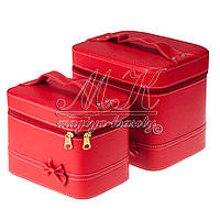 Кейс для косметики и украшений с бантиком 2 в 1 красная, фото 1