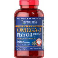 Puritan's Pride Triple Strength Omega-3 Fish Oil 1360 mg 950 mg Active Omega-3 омега-3 жирные кислоты омега 3