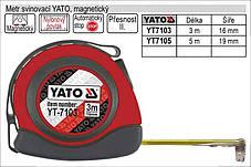 Рулетка строительная (измерительная) 19мм х 5м. с магнитом YATO YT-7105, фото 2