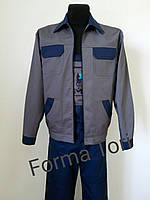 Рабочий костюм с полукомбинезоном, серо-синий