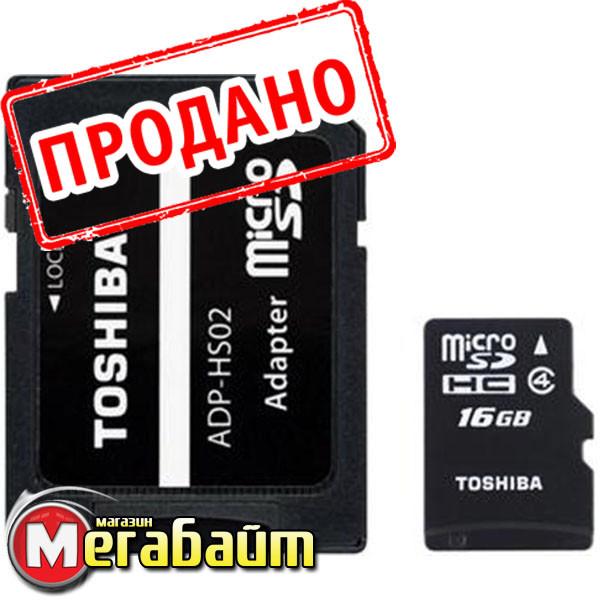 Карта памяти MicroSDHC 16GB Class 4 Toshiba M102 + SD-adapter (THN-M102K0160M2)