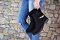 Женские Короткие Черные Ботинки Эко-замш р.36,37,38