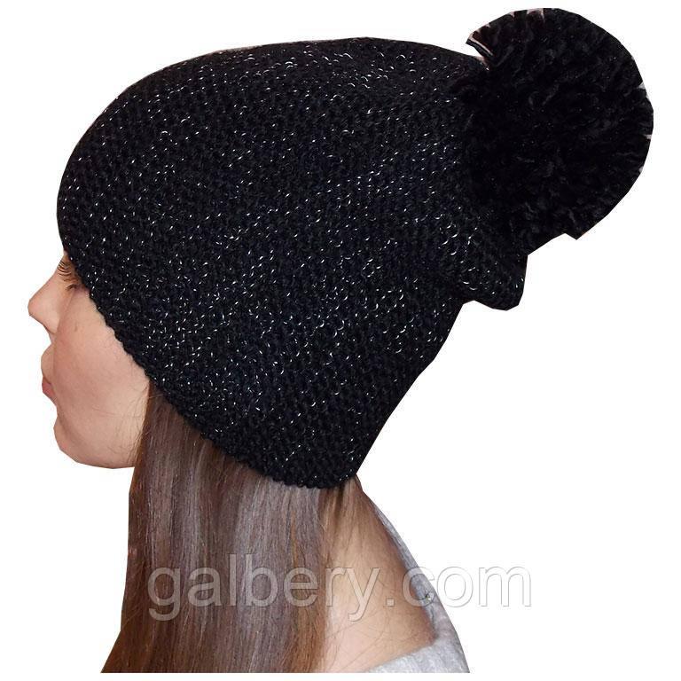 Жіноча в'язана шапка - носок з помпоном (утеплений варіант)
