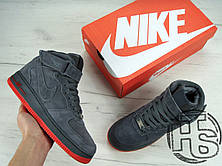 Мужские кроссовки реплика Nike Air Force 1 High VT Vac Tech Premium Winter Gray/Orange 472496-002, фото 3