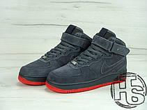 Чоловічі кросівки Nike Air Force 1 High VT Vac Tech Premium Winter Gray/Orange (з хутром) 472496-002, фото 2