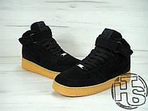 Мужские кроссовки реплика Nike Air Force 1 High Black Suede Winter 749266-001, фото 3