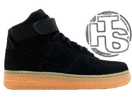 Мужские кроссовки реплика Nike Air Force 1 High Black Suede Winter 749266-001, фото 2