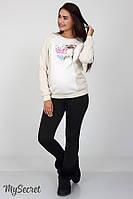 Теплые брюки-лосины на меху для беременных KRISTI WARM, черные, 46 размер
