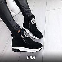 Кроссовки женские Miu на платформе черные, обувь женская
