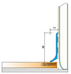 Плинтус алюминиевый 40мм / б.п. L-2.7 мп