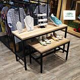 Стойки интерьерные лофт. Столы комбинированные из металла и дерева. Тумбы витринные