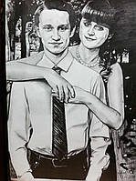Портрет карандашом с фотографии на подарок живопись по фото на ватмане