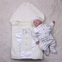 """Демисезонный набор на выписку для мальчика """"Аристократ"""", (молочный), фото 1"""