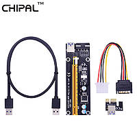 Райзер Riser Chipal ver 006 PCI-E 1x to 16x, 60 см, USB 3.0, 4 Pin, Sata, Molex