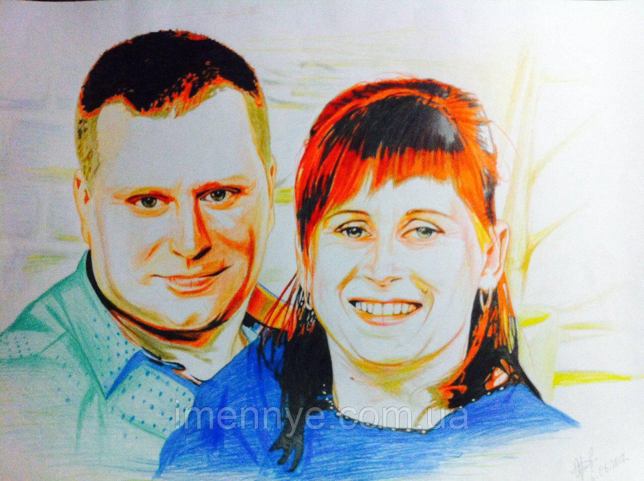 Портрет цветными карандашами для всей семьи