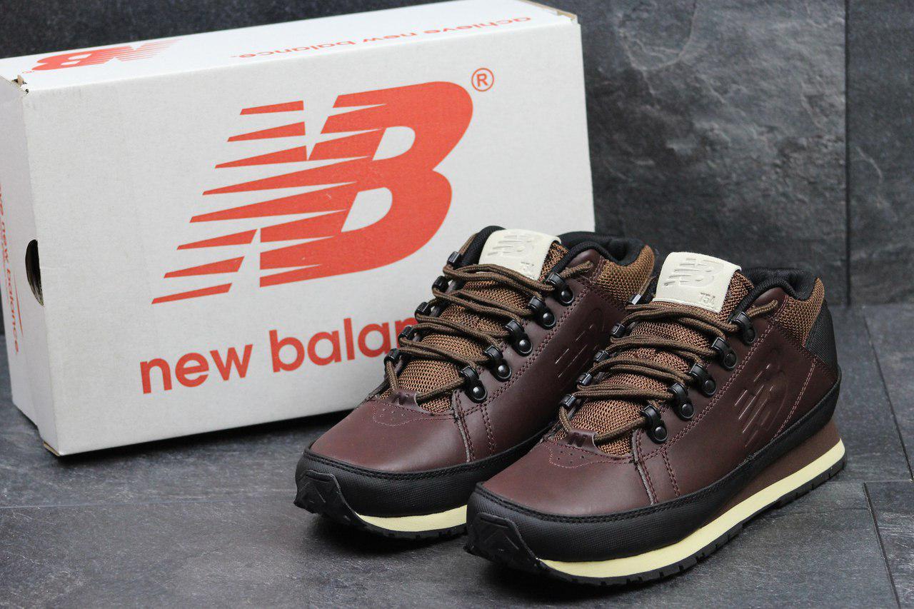 Мужские кроссовки New Balance 754 (термо),кожаные,темно коричневые 41,44