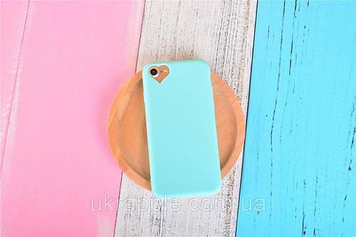 Чехол накладка на iPhone 5/5s/se бирюзовый с вырезом сердце, плотный силикон