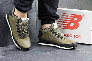 Мужские кроссовки New Balance 754 (термо),кожаные, оливковые 41р
