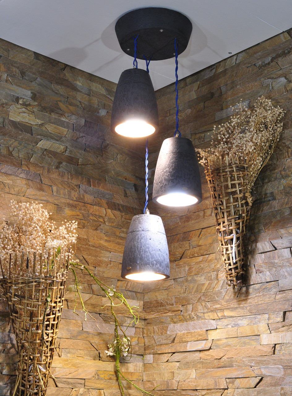 Підвісний бетонний світильник Piccole campane nere