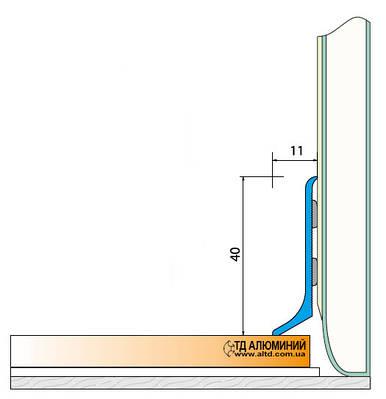 Плинтус алюминиевый 40мм / декор