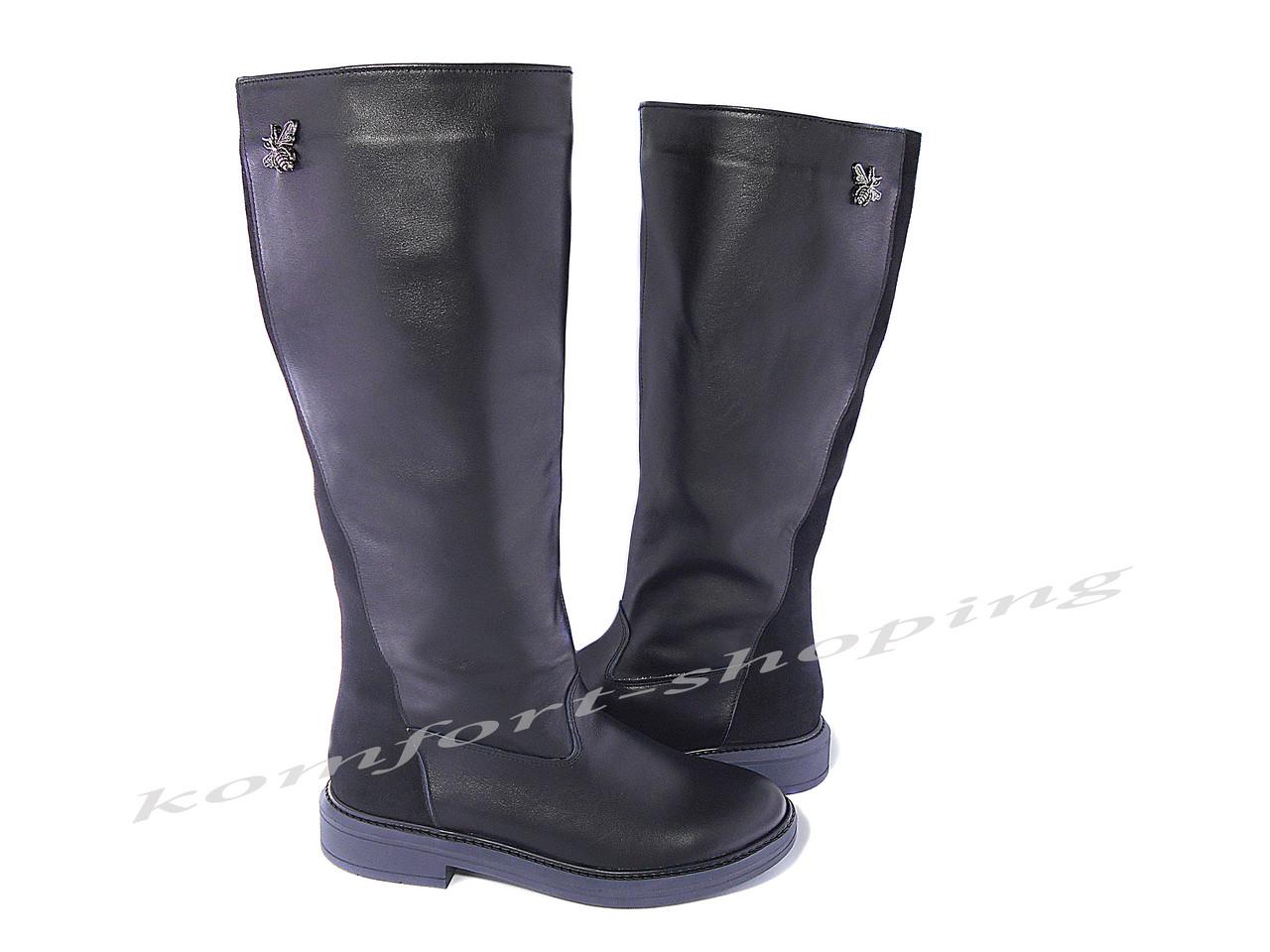 Женские сапоги кожаные с замшевой вставкой, черные V 1154