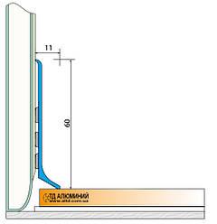Плінтус алюмінієвий 60мм / б.п L-2.7 мп