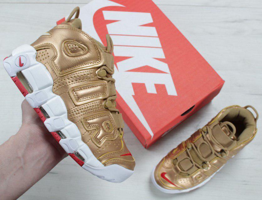 "Кроссовки Nike Air More Uptempo ""Metallic Gold"". Живое фото (Реплика ААА+)"