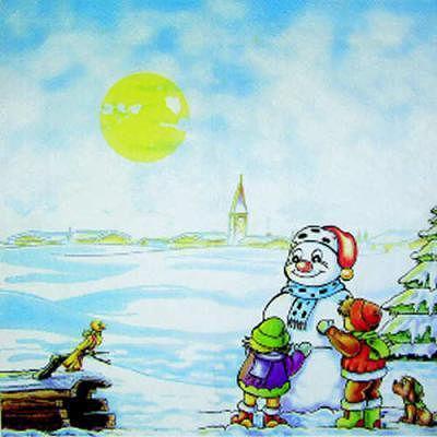 Салфетка для декупажа Дети и снеговик 3713
