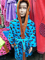 Теплый детский махровый халат с капюшоном