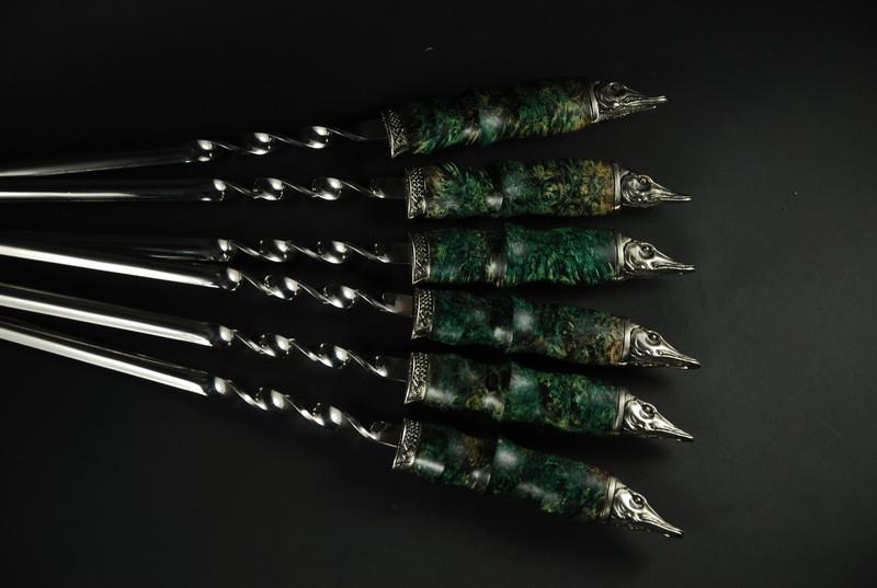 """Набор шампуров """"Щучий"""" 69см с ручкой из мореного дуба"""