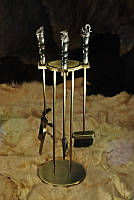 """Набор для камина """"Сафари 2"""" с ручкой из мореного дуба"""